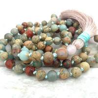 African Opal Jasper Mala Beads, Hand Knotted Gemstone Mala, 108 Bead Mala Necklace, Silk Tassel Mala Necklace, Yoga Jewelry, Prayer Beads