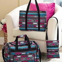 Travel Bag Set Tribal Southwest Print 3 Pc Weekend Overnight Duffel Tote Gray