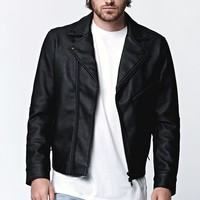 Bullhead Denim Co. Bullhead Zip Up Vegan Leather Moto Jacket - Mens Jacket - Black