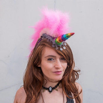 Unicorn Mohawk Headpiece, Unicorn Mohawk Headdress, Unicorn Feather Mohawk, Burning Man, mardi gras, Unicorn Mohawk Horn Drag headband