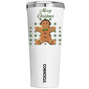 Corkcicle Merry Christmas Gingerbread Man on White 24 oz Tumbler Cup