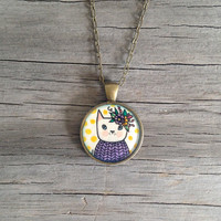 Fancy Lady Cat - Original Watercolor Hand Painted Pendant Necklace - Pretty Kitty Love, Valentines Day