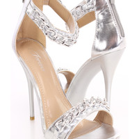 Silver Chain Strap Single Sole Heels Faux Leather
