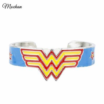 Wonder Woman Logo Cuff Bangle Bracelet