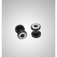 Black with Clear Gem Screw Fit Plug Set - Spencer's