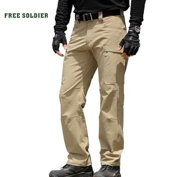 FREE SOLDIER outdoor sports tactical military men's hiking pants multi pockets camping climbing pants