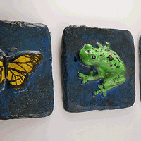 Hand Crafted Garden Friends Tile Trio- Butterfly Frog Dragonfly