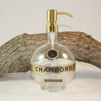 Soap/Lotion Dispenser Upcycled from Chambord Liquor Bottle