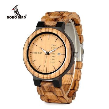 BOBO BIRD Newest Wood Watch for Men with Week Display Date Quartz Watches Two-tone Wooden Drop