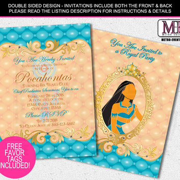 Pocahontas Birthday Invitations, Disney Princess Invitations, Pocahontas Invitations, Princess Invitations, Pocahontas Birthday Invitation