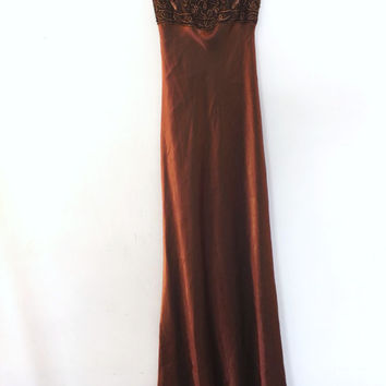 Vintage Morgan & Co. by Linda Bernell Copper Bronze Maxi Gown Long Gold Embroidered Dress Prom Wedding Mother of Bride Petite Size 3 / 4