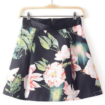 Floral Print High Waisted Mini Skirt