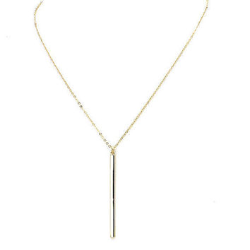 Dainty Long Skinny Gold Vertical Bar Pendant Layering Necklace