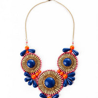 Essential Blooms Statement Necklace in Blue                       - Francescas