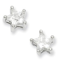 Rhodium Plated CZ Star Post Earrings by Kelly Waters