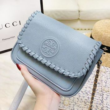 Tory Burch Fashion New Leather High Quality Chain Leisure Shoulder Bag Women Blue