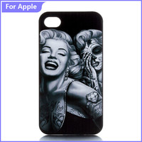 Hot Sale Case For iPhone 4 4S 5 5S 5C 6 6S Plus SE Beauty Marilyn Monroe Skull Print Hard Plastic Mobile Phone Protective Cover