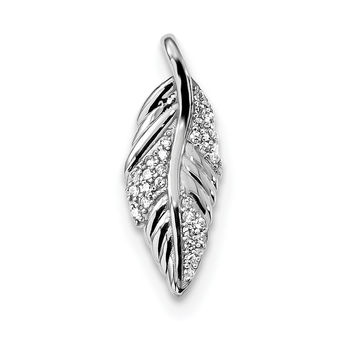 Sterling Silver Rhodium-plated Polished w/CZ Feather Pendant QP4795