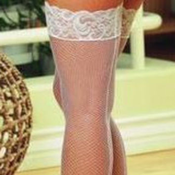 Sexy Plus Size Bridal Fishnet Thigh High