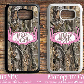 Monogram Galaxy S6 Edge case Pink Antlers Camo Deer Personalized Samsung S3 S4 S5 Note 2 3 4 Custom Tough Cover Country Hunting Girl