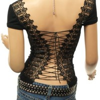 Party Women Unique Corset Embroidered Back Cap Sleeve Boho Clubwear Blouse Top: Clothing