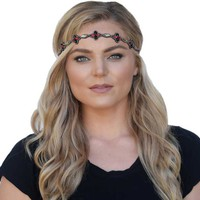 Pink Pewter Emerson Rhinestone Stretch Headband and Choker Necklace in Gray EMERSON-RED/BLK