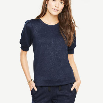 Puff Sleeve Sparkle Top | Ann Taylor