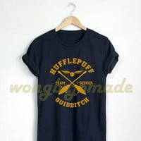 Hufflepuff Shirt Hufflepuff House Quidditch Tshirt Harry Potter T Shirt Black and Navy Color Unisex T-Shirt