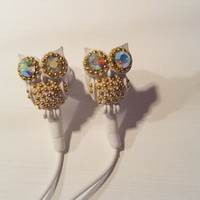 White and Gold Owl Earbuds