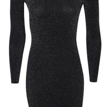 Black Long Sleeve Backless Mini Dress