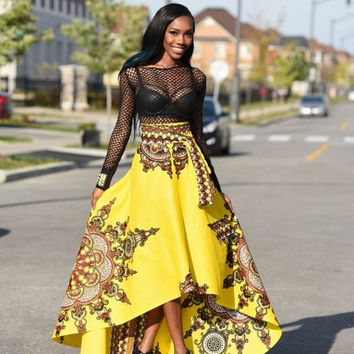 Yellow Vintage One Pieces Maxi Skirts