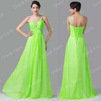 Grace Karin Green One Shoulder Beaded Bridesmaid Banquet Evening Gown Long Prom Formal Dress = 1956894660