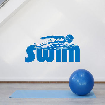 Sports Wall Decals Stickers Swimming Pool, Swimming Pool Swimmer Gift, Sport Wall Decal Swimmig Pool Bedroom, Bedroom Swimming Wall Art K143