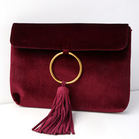 Carrington Burgundy Velvet and Suede Leather Clutch
