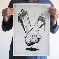 Original digital print zombie hands skull bone black by TotalLost