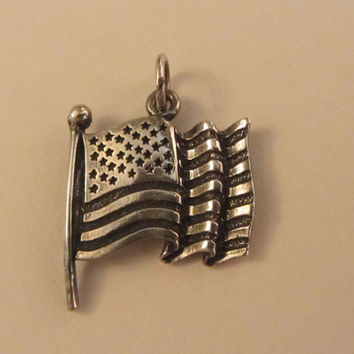 Sterling Silver Wavy US Flag Charm/ Pendant
