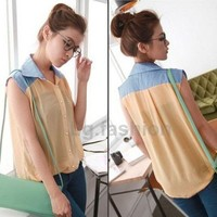 New Womens Blouse Sheer Chiffon Denim Spliced Shirts Sleeveless Top Casual Vest