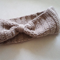 Spring Trends, Women headband, Accessories, Khaki Hand Crocheted Headband, Earwarmer, Hair accessorie. 2013 Trends, Bow headband