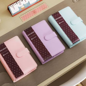 Cute Macaron Leather Spiral Notebook A5 A6 Original Office Personal Diary/Week Planner/Agenda Organizer Stationery Binder