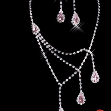 Dramatic Pink & Crystal Bling Necklace & Earring Set