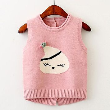 Children Sweater Cute Smile Face Boutique Knitted Wool Vest For 3-6Y