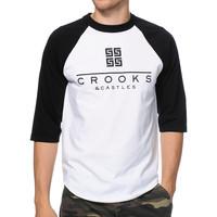 Crooks and Castles Thuxury Greco White & Black Baseball Tee Shirt at Zumiez : PDP