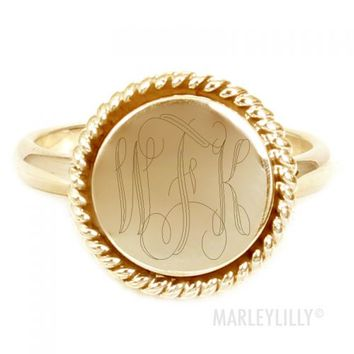 Monogrammed 14K Gold Vermeil Lana Ring | Marley Lilly