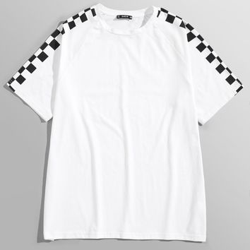 Men Checked Sleeve Tee