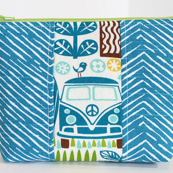 Makeup Bag Zipper Cosmetic Pouch Accessory Case Blue Fabric Blue Peace Van Accent
