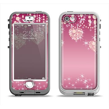 The Pink Sparkly Chandelier Hearts Apple iPhone 5-5s LifeProof Nuud Case Skin Set