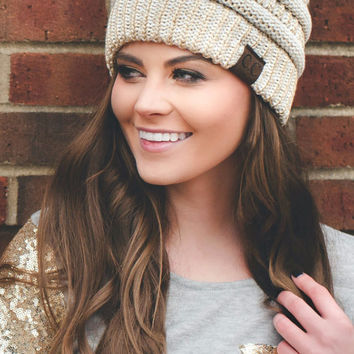 Slouchy CC Beanie (Ivory/Gold Mix)
