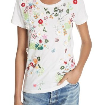 Alice + Olivia Rylyn Embellished Short Sleeve Tee | Nordstrom