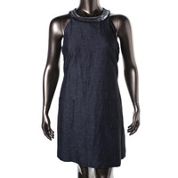 Adrianna Papell Womens Tropicalia Linen Blend Embellished Cocktail Dress
