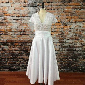 Vintage 1950'S Dress for Prom V Neck Cap Sleeve Lace White Tea Length Evening Party Gown with Pocket gelinlik modelleri 2017